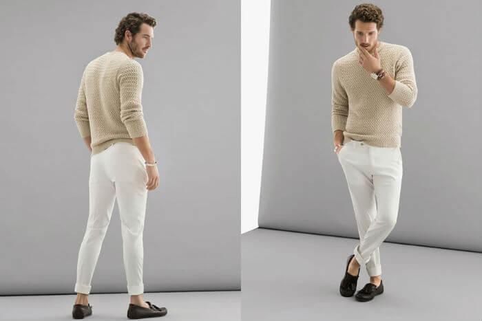 ベージュの春用セーターメンズ着こなし