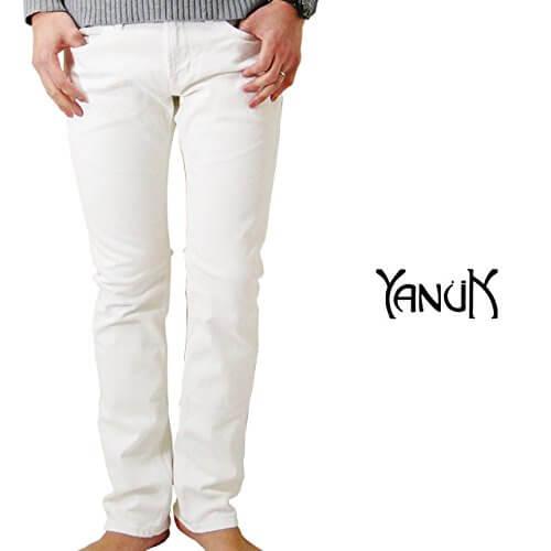 YANUK デニムパンツ MICHEL メンズ ホワイトデニム ホワイト