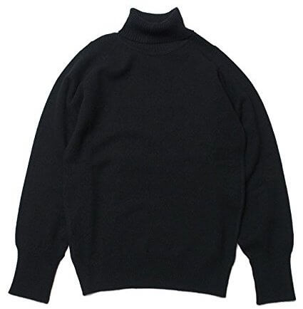 WILLIAM LOCKIE ROLL-COLLAR SWEATER - NAVY タートルネックセーター