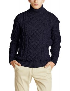 KERRY WOOLLEN MILLS ニットセーター Aran Cable Polo Neck Sweater