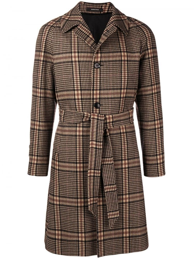 TAGLIATORE(タリアトーレ)belted checked coat