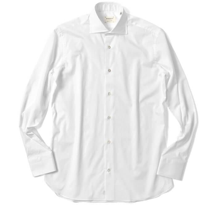 スーツ着こなしの法則①「スーツスタイルにポリ混シャツを合わせない!綿100%シャツを選んでいる」